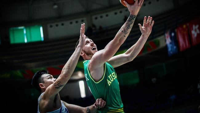 Mitch Creek led the way for the Boomers. Photo: FIBA.