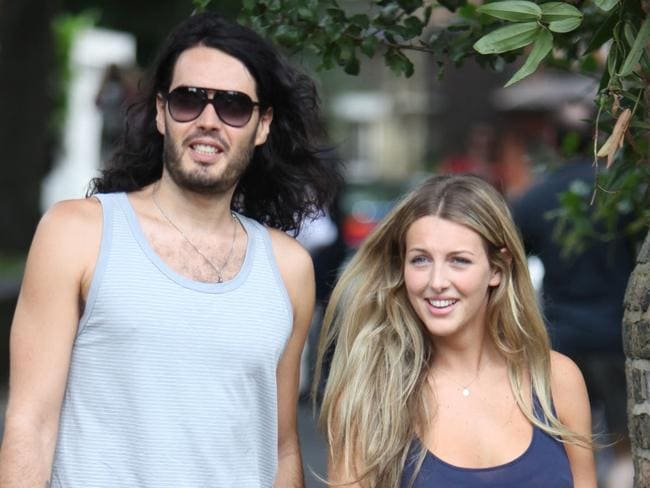 Russell Brand and wife Laura Gallacher. Picture: Splash News