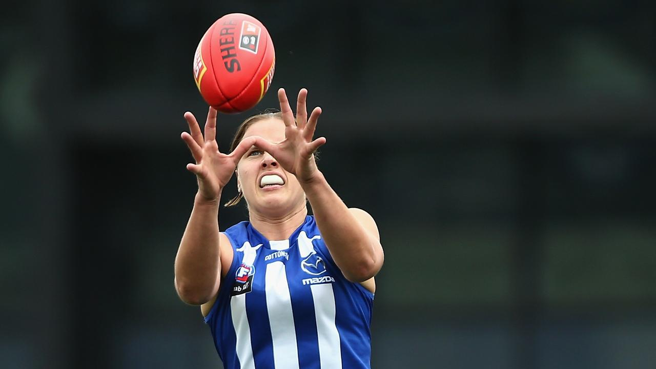 Jasmine Garner was the match-saver for the North Melbourne Kangaroos. Picture: Rob Prezioso