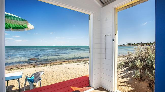 Two entrances offer wide views out on the bay.