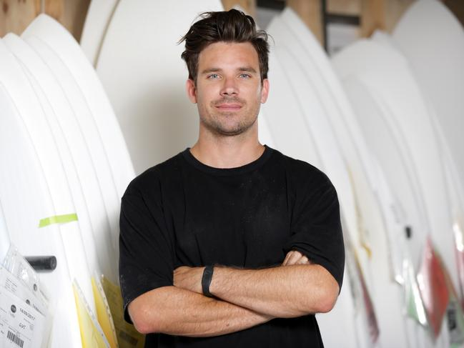 Hayden Cox pictured at his surfboard work shop, his innovative carbon fibre frame was a game-changer in surfboard technology.
