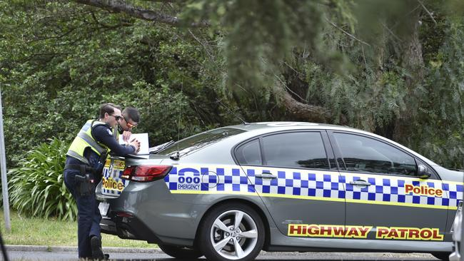 Police assist at a diesel spill at Warringal Private Hospital. Picture: Jason Edwards