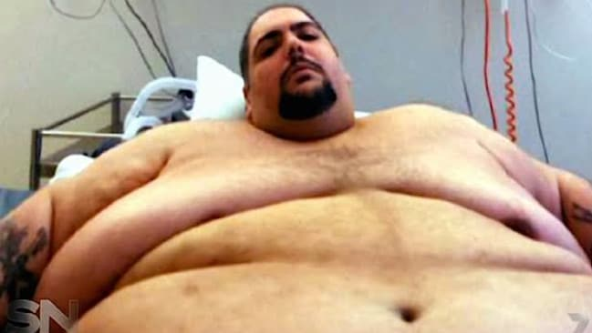 Lowest point ... Andre Nasr said he was 'ashamed' he had to be hospitalised for his obesity. Picture: Sunday Night