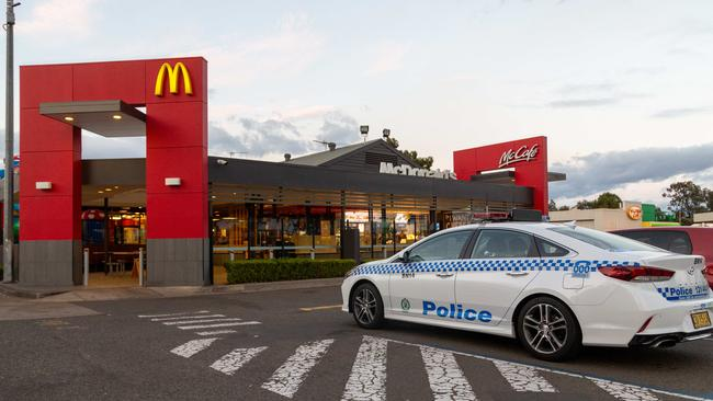 A jogger made his way to a McDonald's after being attacked at a nearby lake. Picture: Dean Asher