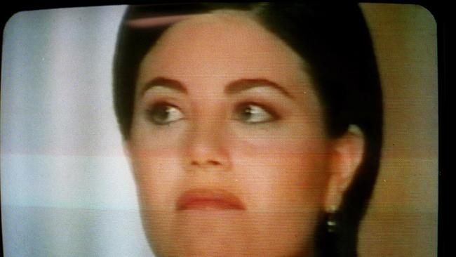 Monica Lewinsky during her interview with Barbara Walters in the late 1990s. Picture: Supplied.