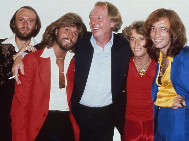 The Bee Gees with brother Andy Gibb and manager Robert Stigwood in New Yor in 1979. Picture: Michael Putland/Getty Images