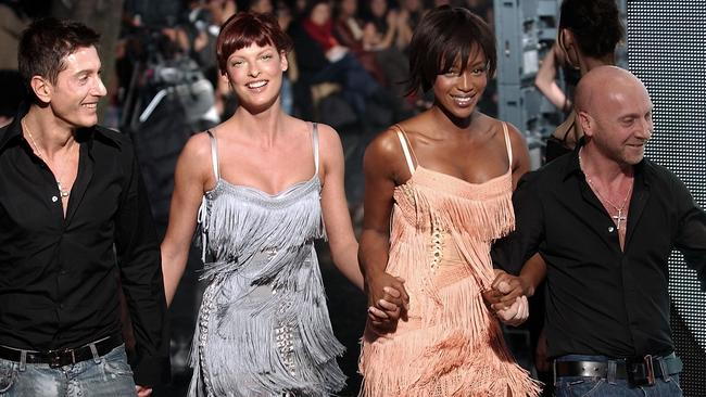 Evangelista with fellow supermodel Naomi Campbell and fashion designers Dolce & Gabbana. Picture: Giuseppe Cacace/Getty Images