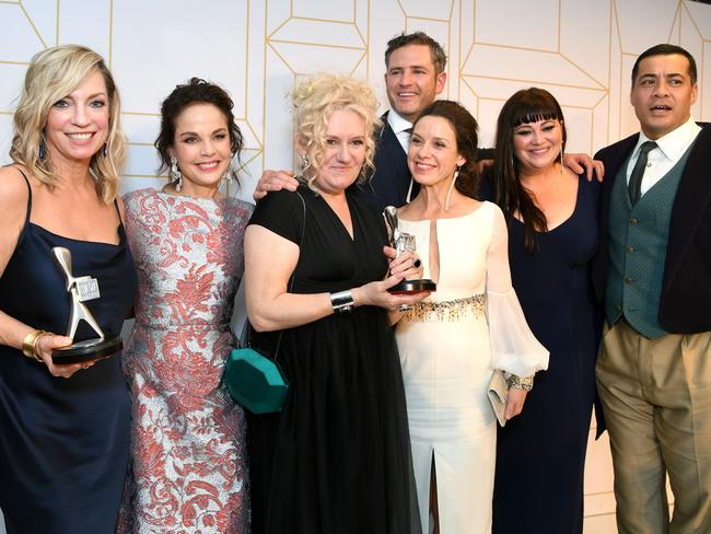 The cast of Wentworth pose for a photograph after winning a Logie for Most Outstanding Drama Series. Picture: AAP