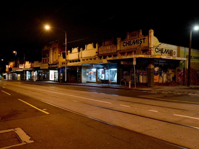 Street view across the road from the chemist where Jill Meagher rounded the corner at about 1.38am on September 22, 2012 before she was raped and murdered. Picture: Mal Fairclough/news.com.au