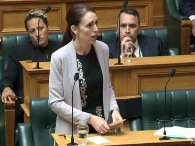 Prime Minister Jacinda Ardern struggled to hold back tears in parliament today. Picture: Parliament TV