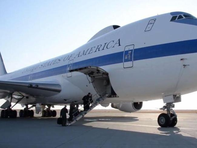 America's 'Doomsday' plane which will be Donald Trump's HQ if nuclear war breaks out with North Korea. Picture: Airsource Military/Youtube