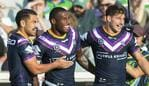 Suliasi Vunivalu of the Storm celebrates a try with teammates during the Round 2 NRL match between the Canberra Raiders and the Melbourne Storm at GIO Stadium, Canberra, Friday, March 22, 2019. (AAP Image/Rohan Thompson) NO ARCHIVING, EDITORIAL USE ONLY