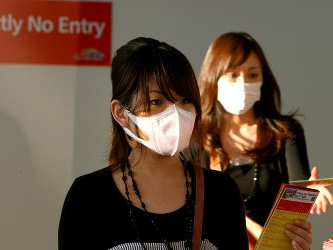 Passengers arriving at Gold Coast Airport during the swine flu outbreak of 2009.