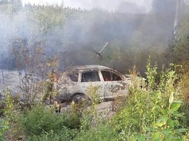 The Toyota Rav 4 SUV was found still ablaze in dense bush at the Fox Cree Nation reserve some 40km from Gillam. Picture: Supplied
