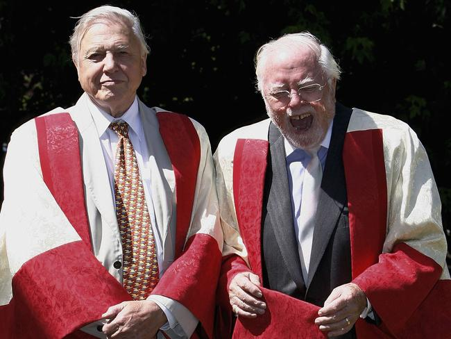 Sir David Attenborough (left) and brother Lord Richard Attenborough pose together before they are awarded the title of Distinguished Honorary Fellowships from the University of Leicester.