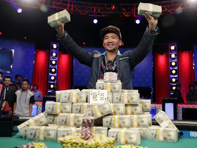 Qui Nguyen after winning the World Series of Poker Main Event.