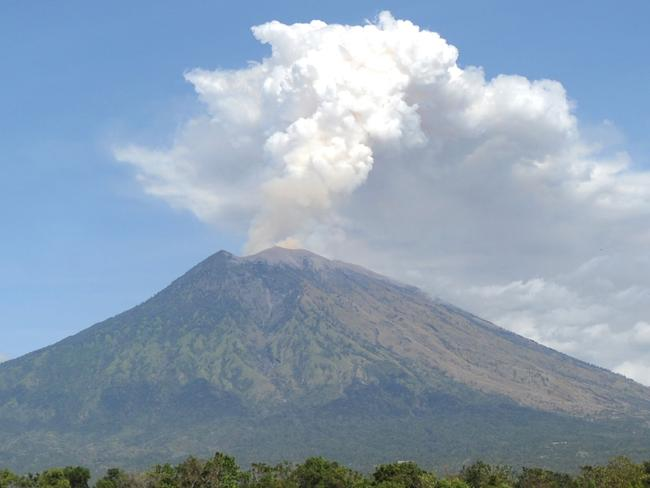 Mount Agung volcano erupts in the Kubu subdistrict of Bali. Picture: AFP