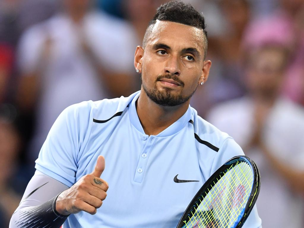 Nick Kyrgios of Australia celebrates winning against Ryan Harrison of the USA during the men's Final at the Brisbane International Tennis Tournament in Brisbane, Sunday, January 7, 2018. (AAP Image/Darren England). NO ARCHIVING, EDITORIAL USE ONLY