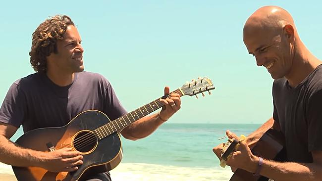 Jack Johnson and his old friend Kelly Slater went to Marshall Islands together on a surf trip, blowing out the deadline for the singer-songwriter's new album. Picture: HBO Sports/Surfline/YouTube