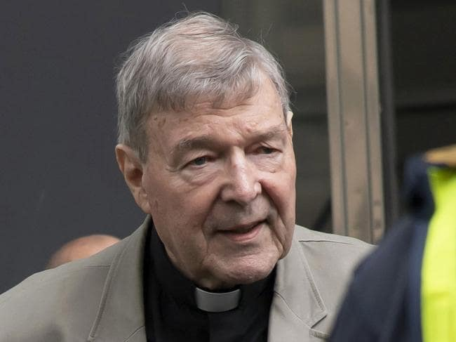 George Pell sat in the courtroom as the sentencing was broadcast around the world, but the public didn't get to see him. Pictured at another court appearance last month. Picture: Andy Brownbill/AP