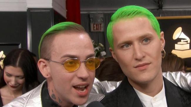 Mike Posner (right) and 'Blackbear' get weird on the red carpet.