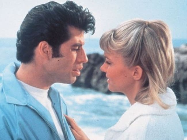 Danny (John Travolta) and Sandy (Olivia Newton John) at the beach where 'she nearly drowned'. Picture: Supplied
