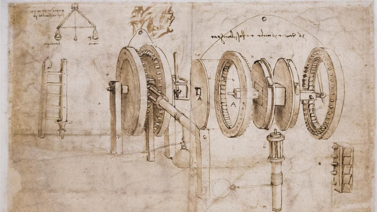 "A diagram by Leonardo da Vinci of an invention he called a ""Manual lever winch"", long before anything like this was able to be made. Picture: AP"