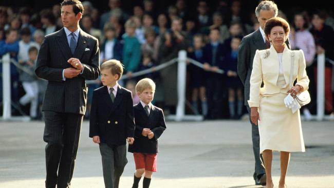 Later years: With Charles, Prince William and Prince Harry in 1989. Picture: Getty