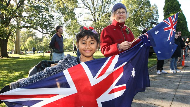 Vitalia and grandmother Val Mitchell at the start of the Melbourne parade. Picture: Mark Wilson