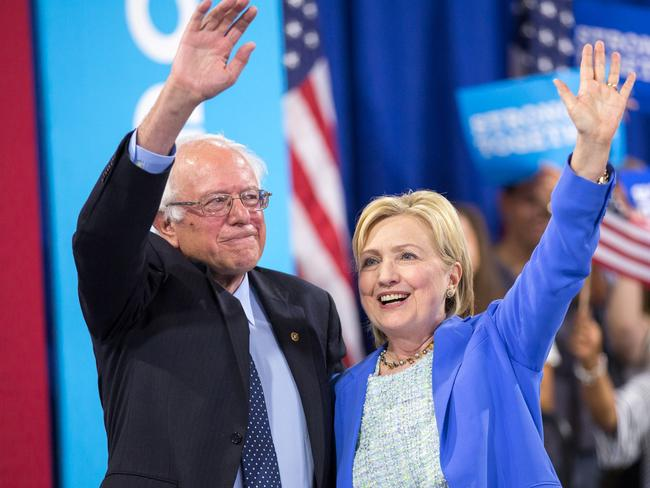Hillary Clinton and Bernie Sanders. Picture: AFP