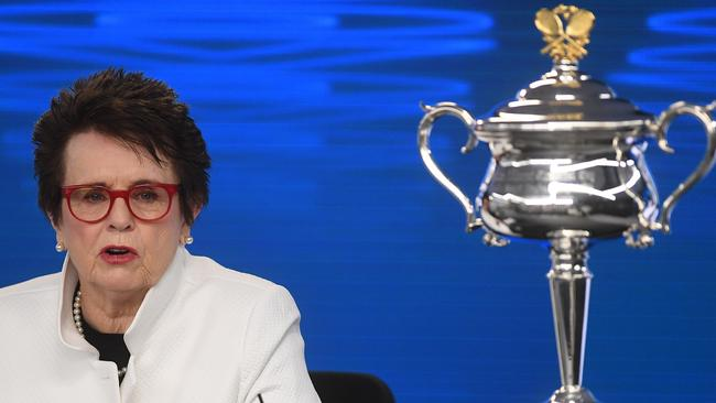 Billie Jean King speaks at a media conference ahead of the Australian Open.