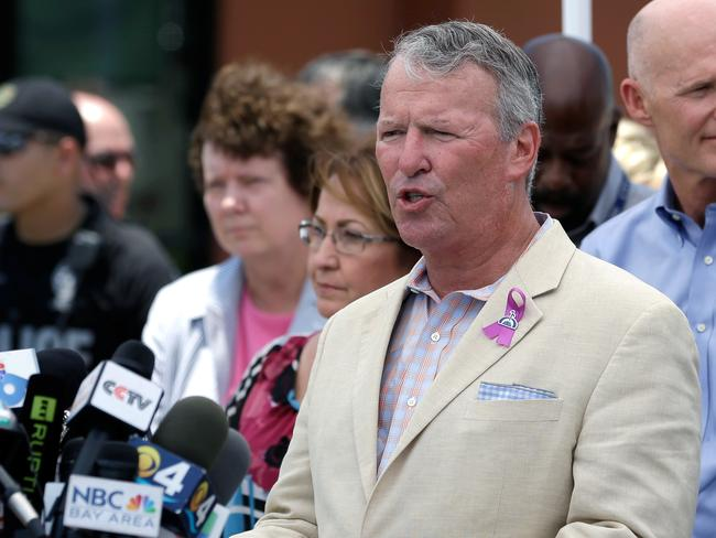 Orlando mayor Buddy Dyer held a news conference to update on the mass shooting at Pulse nightclub in Orlando, Florida. Picture: John Raoux