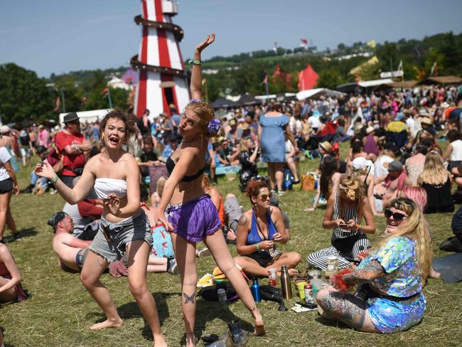 The party mood is already in evidence after the gates opened on Wednesday for the five-day extravaganza. Picture: Oli Scarff / AFP)