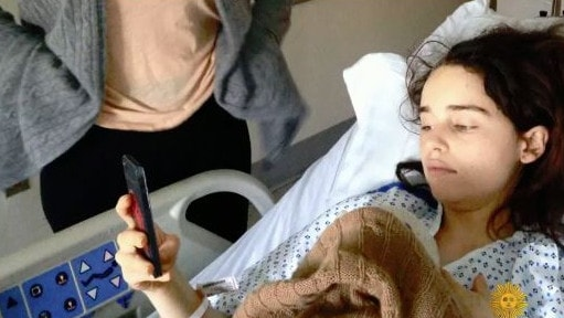 The star is pictured in hospital. Picture: CBS