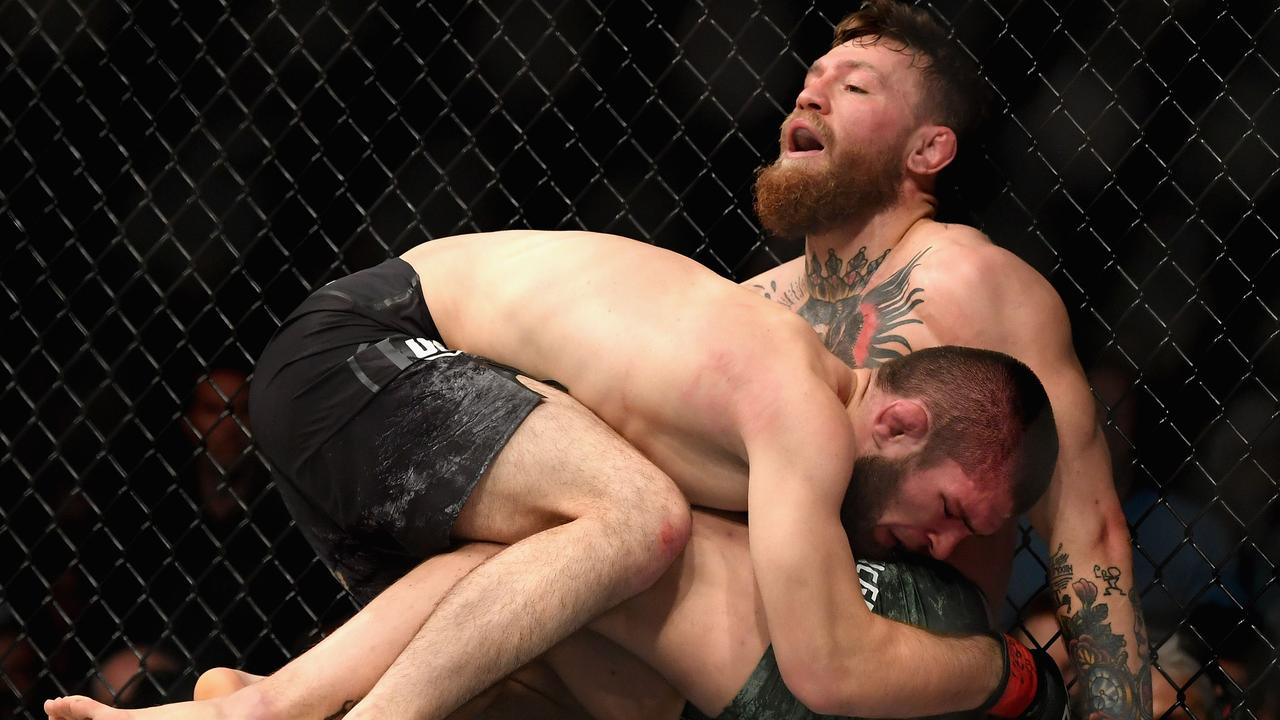 Khabib Nurmagomedov of Russia holds down Conor McGregor of Ireland in their UFC lightweight championship bout during the UFC 229 event in October.