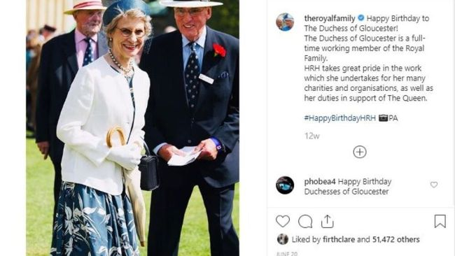 The Duchess of Gloucester was showered in birthday wishes from Her Maj. Image: Instagram.