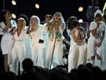Kesha performs with Bebe Rexha, Cindy Lauper, Camila Cabello at the 60th Annual GRAMMY Awards at Madison Square Garden on January 28, 2018 in New York City. Picture: AFP