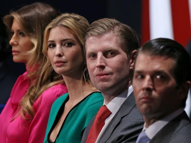Some family members of Donald Trump, (from L-R) wife Melania Trump, daughter Ivanka Trump, and sons Eric Trump and Donald Trump Jr. Picture: AFP.