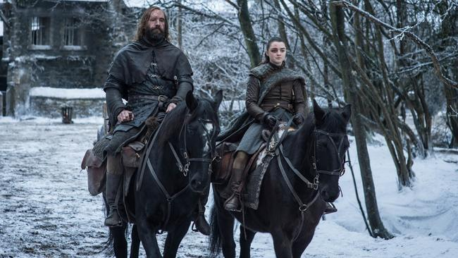 Rory McCann as Sandor 'The Hound' Clegane and Maisie Williams as Arya Stark.