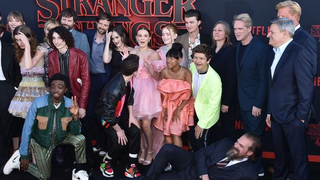 The cast of Stranger Things, also starring Winona Ryder, on the red carpet in California for the world premiere of season 3. Picture: Chris Delmas/AFP.