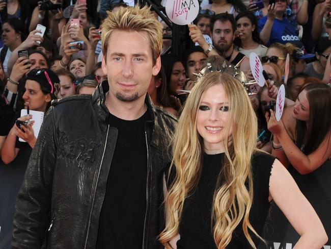 Getting better ... Lavigne's husband Chad Kroeger visited the sick singer as much as he could during his tour with Nickeback. Picture: Jag Gundu/Getty Images