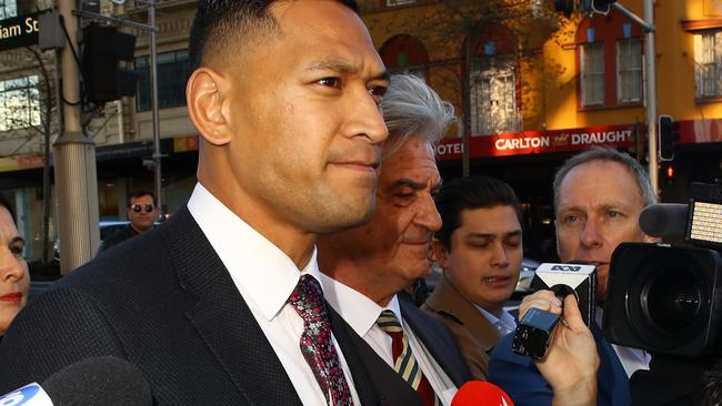 Folau did not answer questions from journalists. Picture: Matrix Media Group