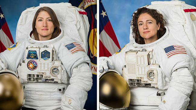 Christina Koch (left) and Jessica Meir (right) performed the first all-female space walk last year. Picture: HO / NASA / AFP