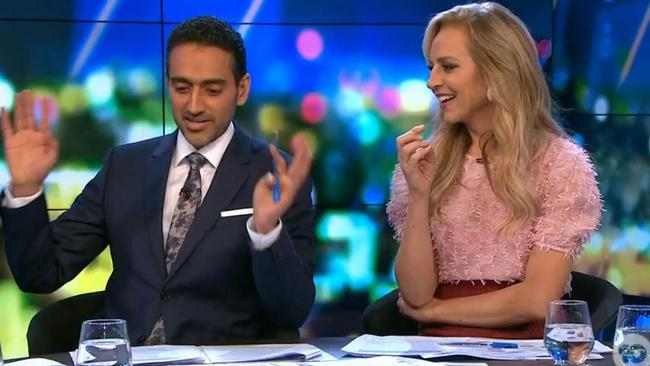 At one point, Carrie Bickmore pushed Waleed Aly to asked about Nicole's lyrics in an awkward back-and-forth. Picture: Channel 10.