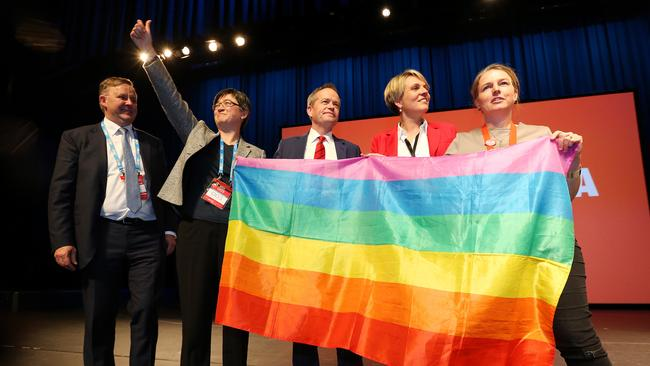 Anthony Albanese, Penny Wong, Bill Shorten and Tanya Plibersek celebrate the passing of the marriage equality amendment. Picture: Mark Stewart