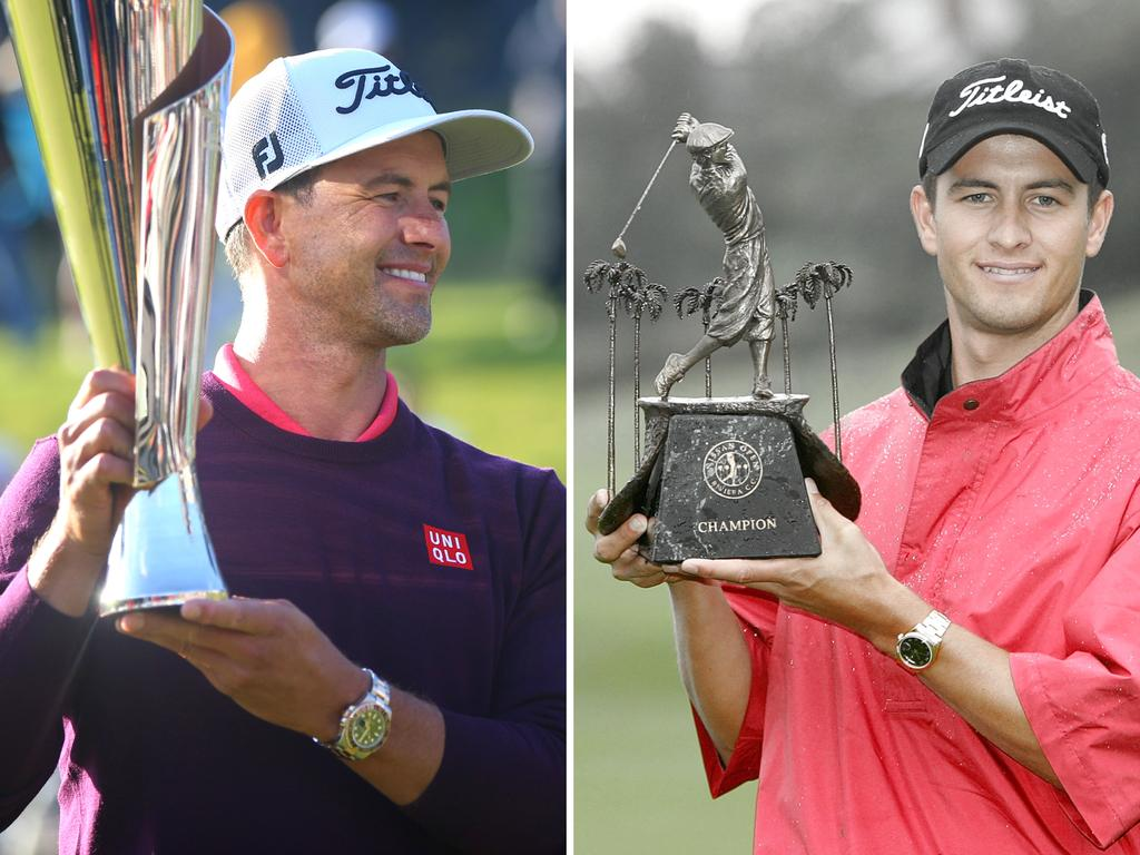 Adam Scott with the trophy in 2020, and the unofficial 2005 title.