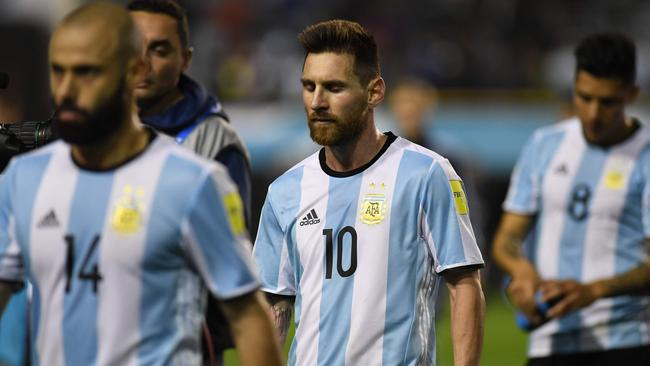 Argentina's Lionel Messi leaves the field.