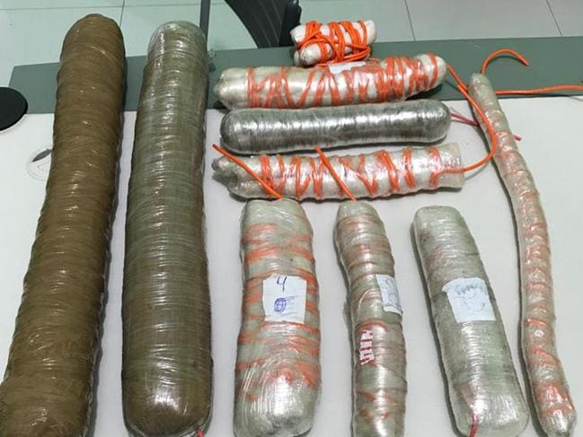 This handout photo released by the Civil Police of Ceara shows explosives seized by the police after a shootout with the bank robbers in Milagres. Picture: Civil Police of Ceara via AP