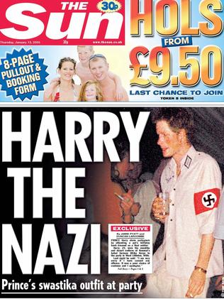 The controversial photograph of Prince Harry wearing a Nazi shirt and swastika appeared on the front page of The Sun newspaper in London in 2005.