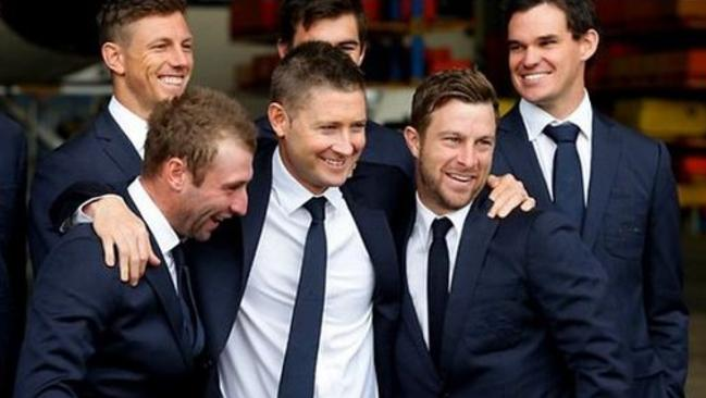Brothers in arms: Michael Clarke with Hughes and his team-mates. Picture: Michael Clarke, Instagram